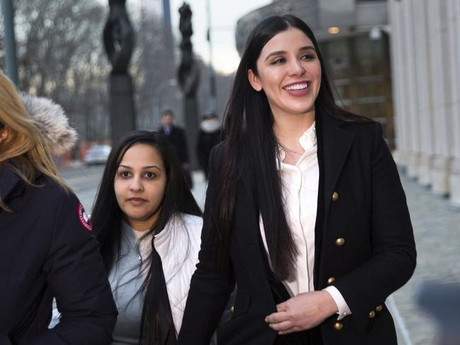 """Emma Coronel Aispuro leaves Brooklyn federal court in New York on Thursday, after attending the trial of her husband Joaquin """"El Chapo"""" Guzman. Picture: AP"""