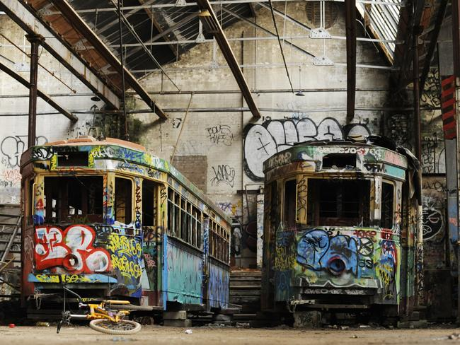 Sydney's former trams are left to rot in Rozelle. Pic: Phil Rogers