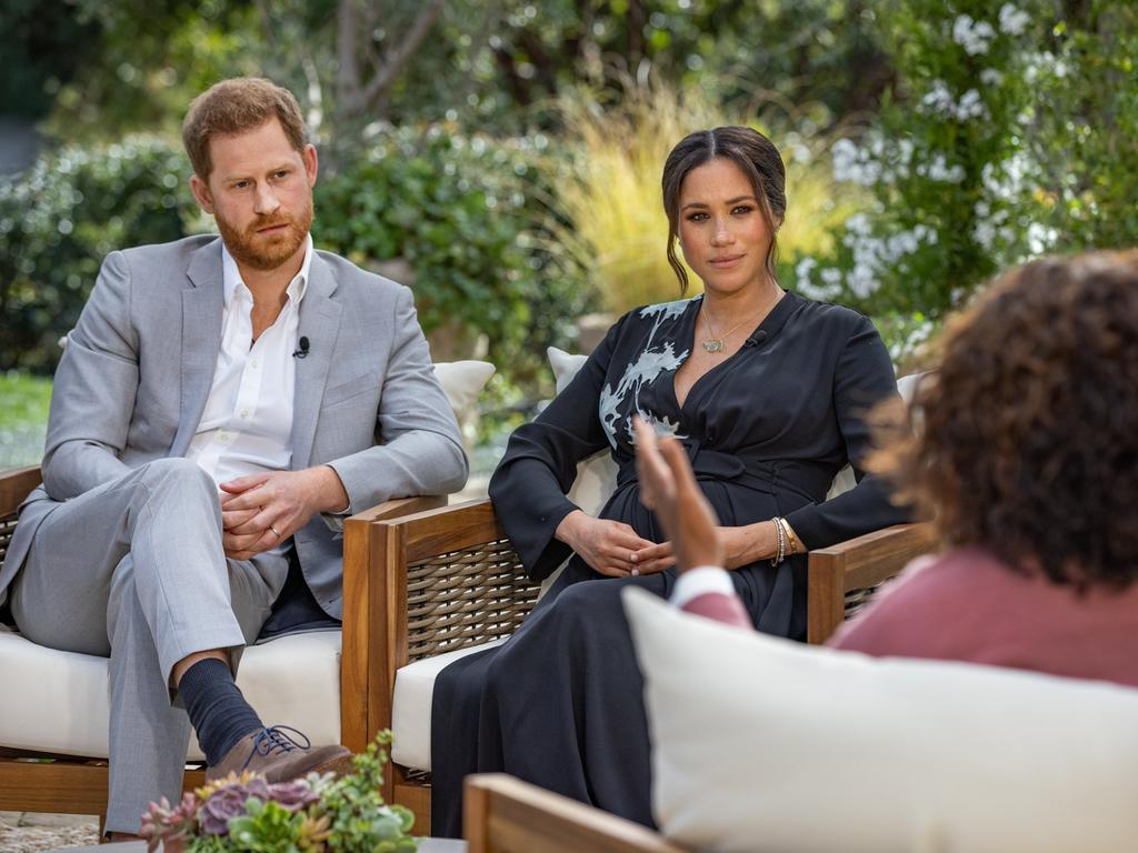 Harry and Meghan opened up about their struggles with royal life during their interview with Oprah earlier this year. Picture: Harpo Productions