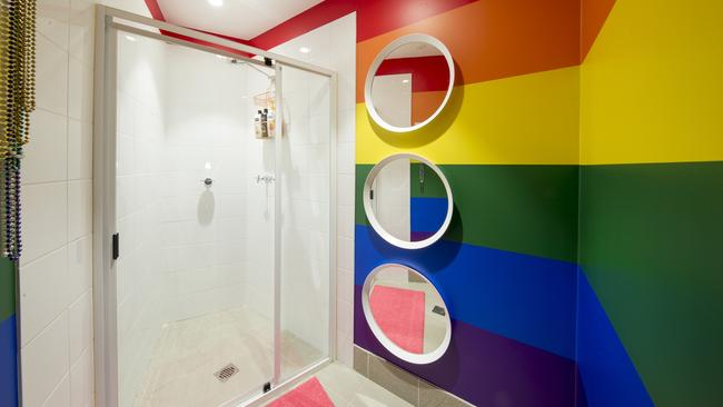 Gay abandon: A shower room with plenty of rainbow flair. Picture: James Horan