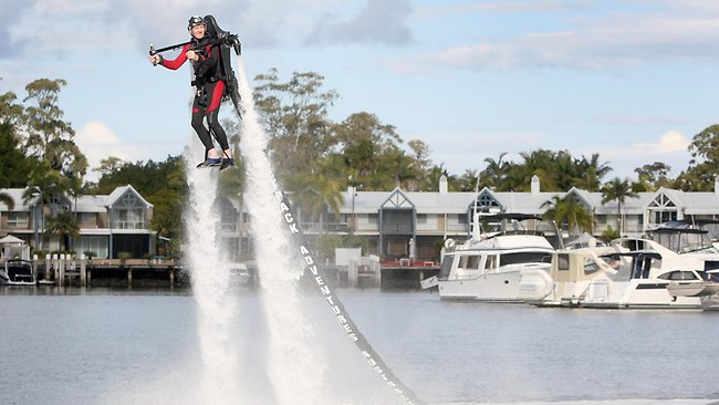 Greg Weige demonstrates a JetLev Jetpack at Sanctuary Cove in May. Picture: Jono Searle