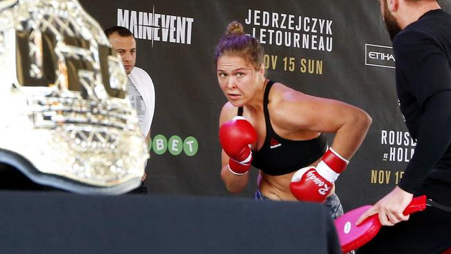 Ronda Rousey doing an open workout at Fed Square.