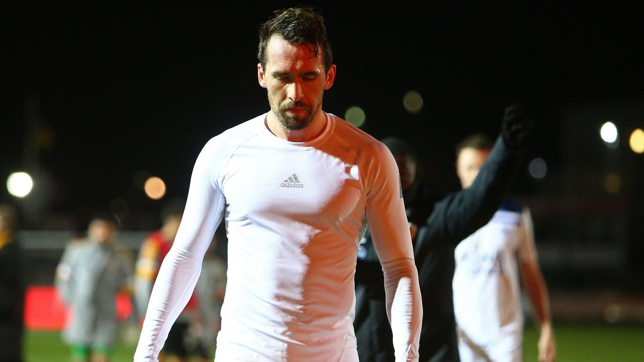 Leicester City's Austrian defender Christian Fuchs. (Photo by Geoff CADDICK / AFP)
