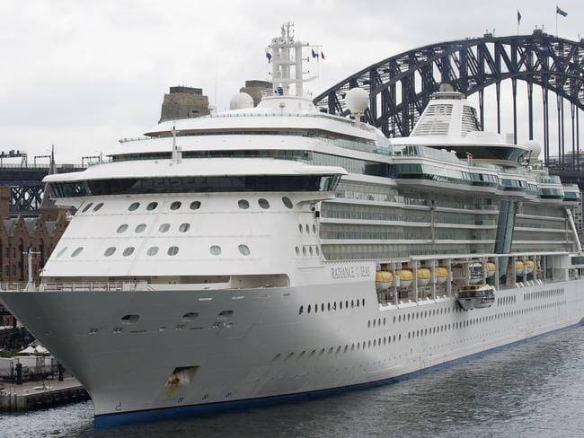Radiance of the Seas, pictured in Sydney, remains uncertain about an upcoming Bali port call. Picture: Supplied / Royal Caribbean