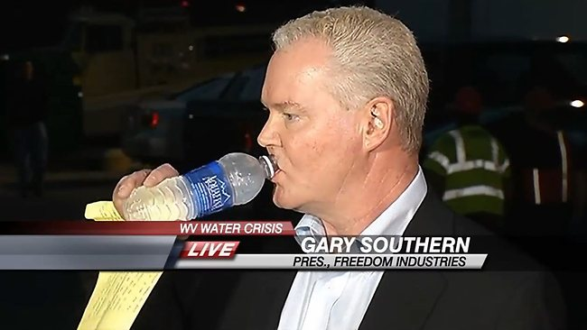 Freedom Industries Gary Southern appears out of touch as he complains of his hard day while drinking bottled water. 300,000 of his customers are still without water after a chemical leak.