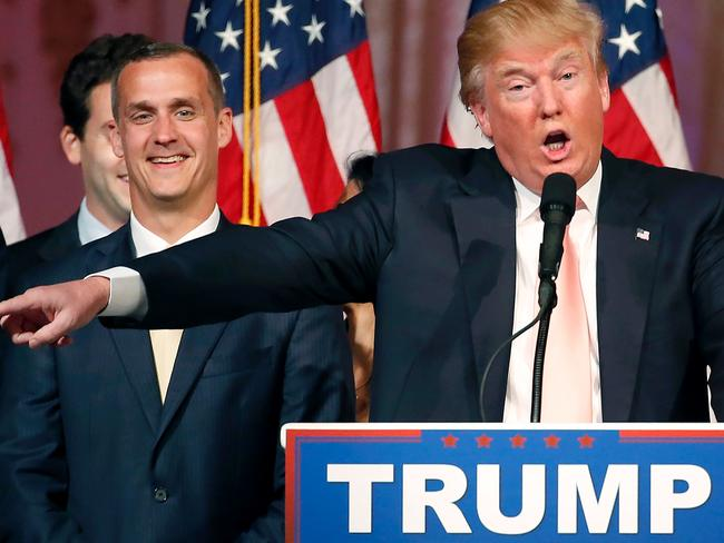 Then Republican presidential candidate Donald Trump with his one-time campaign manager Corey Lewandowski (L). Picture: AFP