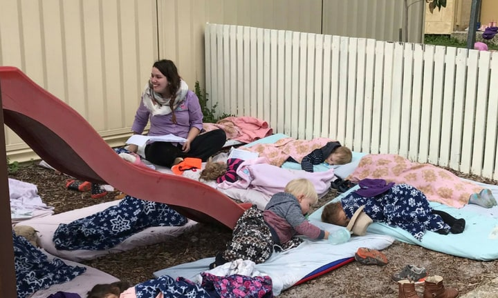 At this Perth daycare, the children sleep outside