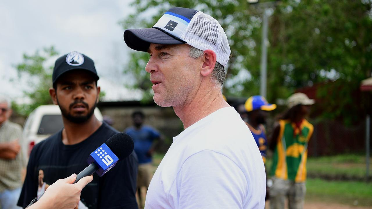 West Coast Eagles coach Adam Simpson visited Willie Rioli in the Northern Territory — just over 12 months after the duo took the 2018 premiership cup to Bathurst Island. Picture: Justin Kennedy
