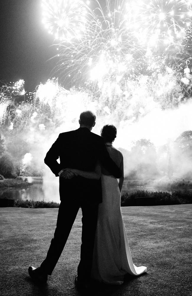This never seen before wedding photo features on the Duke and Duchess of Sussex's Christmas card this year. Picture: Chris Allerton