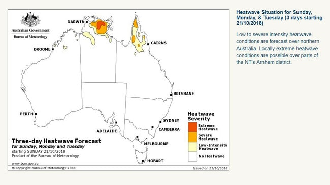 Heatwaves have been forecast for some northern parts of Australia. Picture: Bureau of Meteorology
