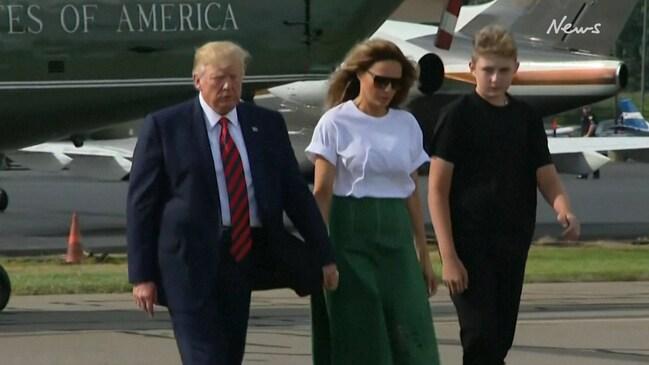 Barron Trump is unrecognisable in rare public outing