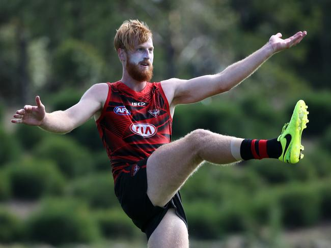 Essendon's Aaron Francis during training. Picture: George Salpigtidis