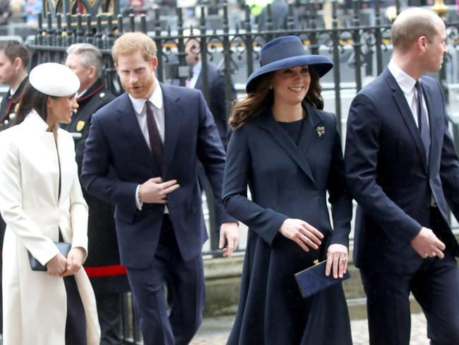 Meghan Markle, Prince Harry, Catherine, Duchess of Cambridge and Prince William, Duke of Cambridge at the Commonwealth Day service. Picture: Getty Images