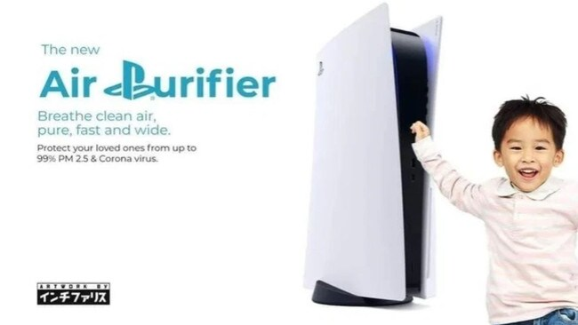A meme comparing the design of the PS5 to an air purifier.