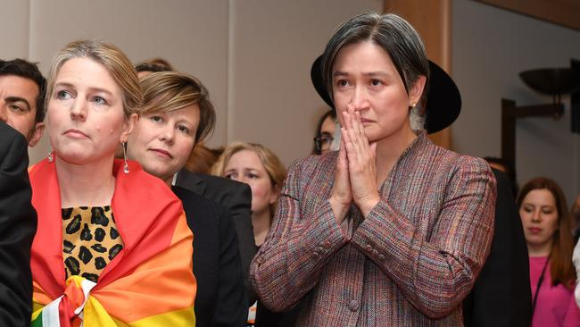 Senator Penny Wong waits to hear the result of the postal survey. Picture: AAP/Dean Lewins