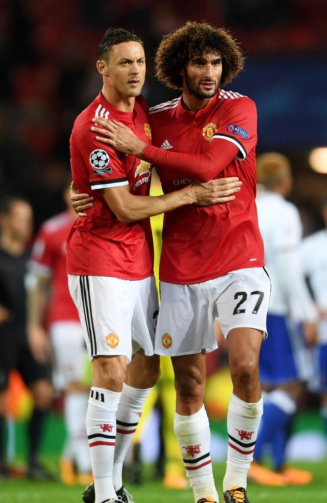 Nemanja Matic of Manchester United and Marouane Fellaini.