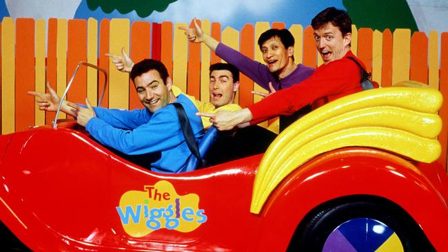 The original line-up: Murray Cook (red), Anthony Field (blue), Greg Pape (yellow) and Jeff Fatt (purple).
