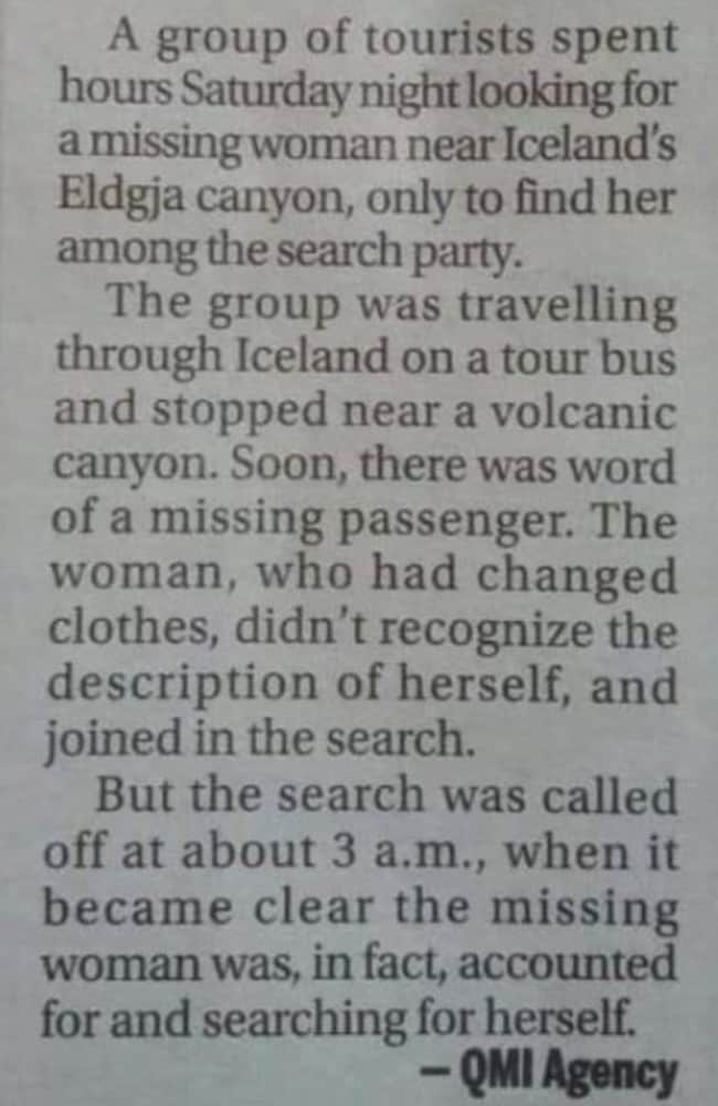 It's the funniest missing tourist story you're ever likely to read.