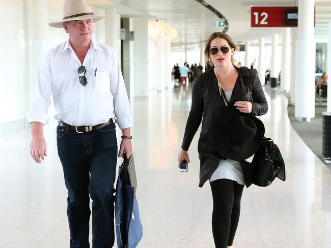 Former Deputy Prime Minister Barnaby Joyce and his pregnant partner Vikki Campion who is due to give birth next month. Picture: Kym Smith