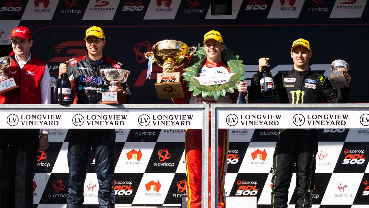 Chaz Mostert (L) on the podium with Scott McLaughlin and Cameron Waters.