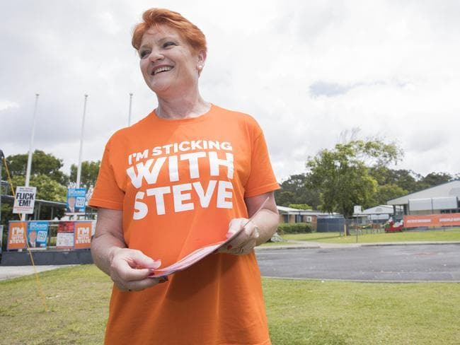 Pauline Hanson at the polling booth at Mountain Creek State School for the 2017 Queensland State Election. Photo Lachie Millard