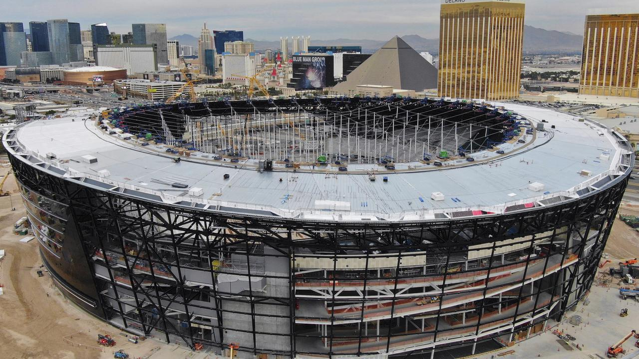 Allegiant Stadium is nearing completion. Here, the Raiders new home takes shape in December. (Michael Quine/Las Vegas Review-Journal via AP, File)