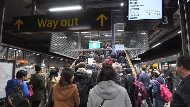 Commuters are seen at Town Hall train station in Sydney. Picture: Peter Rae/AAP Image