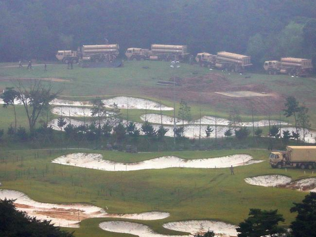 US Terminal High Altitude Area Defense (THAAD) system equipments are seen at a former golf course in the southern county of Seongju. Picture: AFP