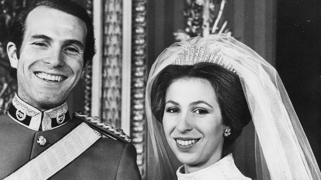 The wedding of Princess Anne and Captain Mark Phillips at Westminster Abbey on November 14, 1973. Picture: Mega