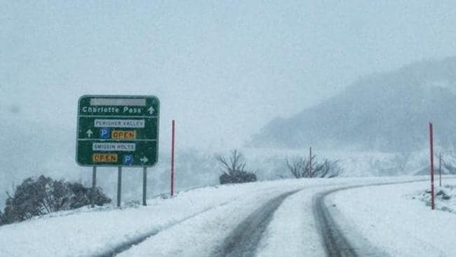 The road to Perisher ski resort this arvo. Pic: Perisher Facebook page.