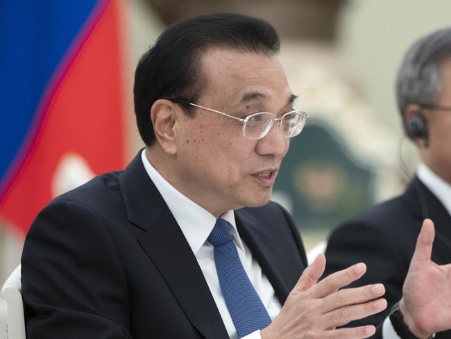 Chinese Premier Li Keqiang admitted the nation will struggle to hit 6 per cent growth. Picture: Pavel Golovkin/AP