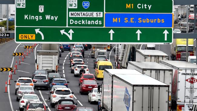 Traffic jams on Melbourne's West Gate Freeway. Picture: Nicole Garmston