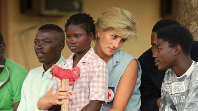 Princess Diana talking to amputee landmine victims near Luanda during her visit to Angola. Picture: Supplied