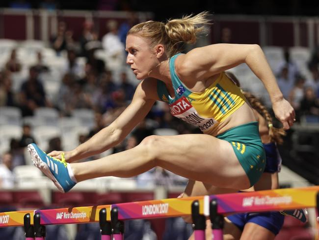 Australia's Sally Pearson competes at the World Athletics Championships in London in 2017. Picture: AP Photo/Matt Dunham, File