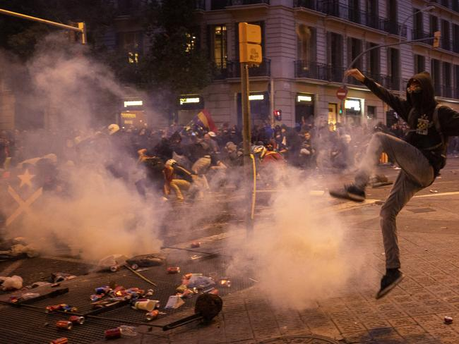 The Catalan regional capital is bracing for a fifth day of protests over the conviction of a dozen Catalan independence leaders. Picture: AP Photo/Emilio Morenatti