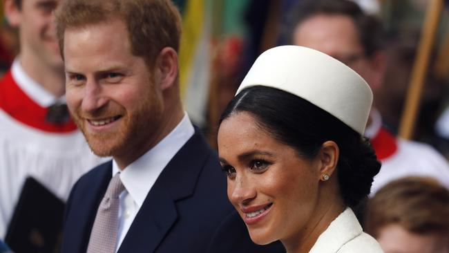 Meghan and Prince Harry attend the Commonwealth Service at Westminster Abbey on Commonwealth Day in London this month. Picture: AP Photo/Frank Augstein