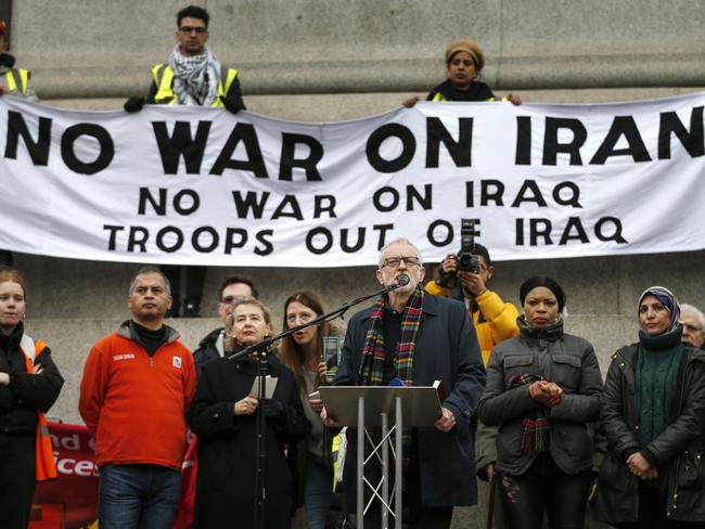 Jeremy Corbyn speaking at a rally against war with Iran earlier this month. Picture: Getty