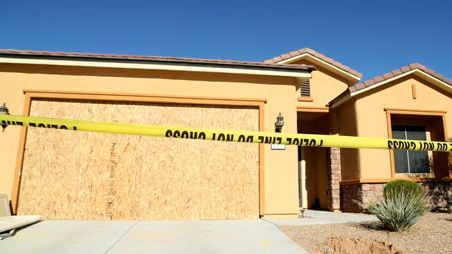 Police tape blocks off the home of gunman Stephen Paddock in Mesquite, Nevada. Picture: Gabe Ginsberg/Getty Images/AFP