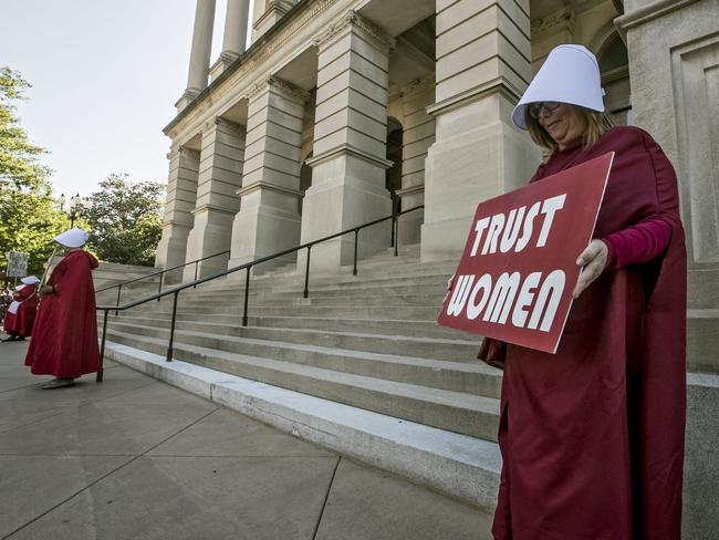 Protesters dressed as characters from The Handmaid's Tale outside the Capitol in Georgia in Atlanta, banning abortions once a foetal heartbeat can be detected. Picture: AP