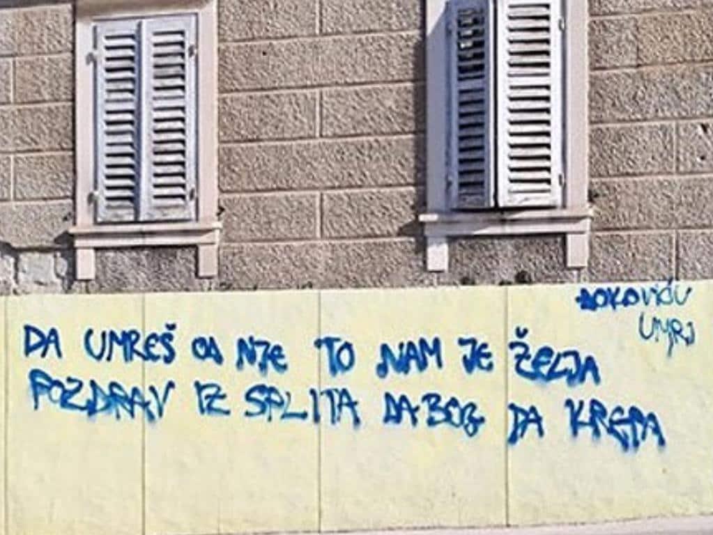 Horrific graffiti has been directed at Djokovic. From @BATennisCom on Twitter.
