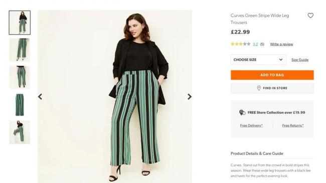 The larger New Look green-striped trousers.