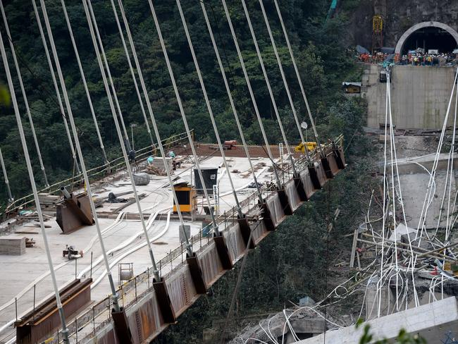 Around 40 workers were at the site when the bridge suddenly collapsed. Picture: AFP