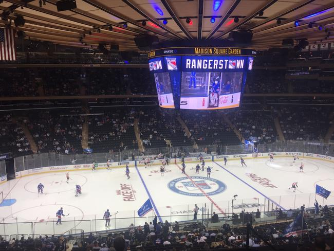 The atmosphere at the New York Rangers v the Philadelphia Flyers ice hockey game was electric.