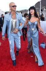 Taking inspiration from ye olde Britney and Justin, Katy Perry and rapper Riff Raff inexplicably wore this Canadian tuxedo (aka double denim) to the 2014 VMAs. Picture: Larry Busacca/Getty Images for MTV