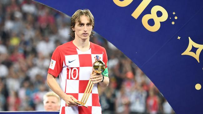 Luka Modric with the World Cup Golden Ball. Picture: AFP