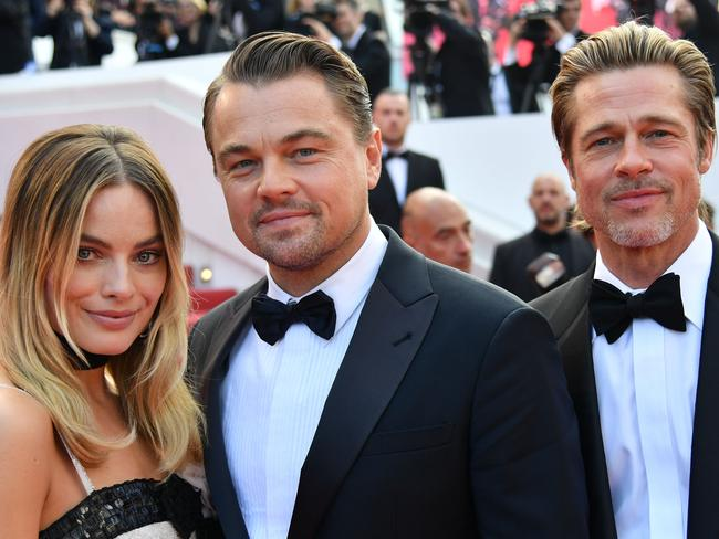 Margot Robbie, Leonardo DiCaprio and Brad Pitt at Cannes. Picture: AFP