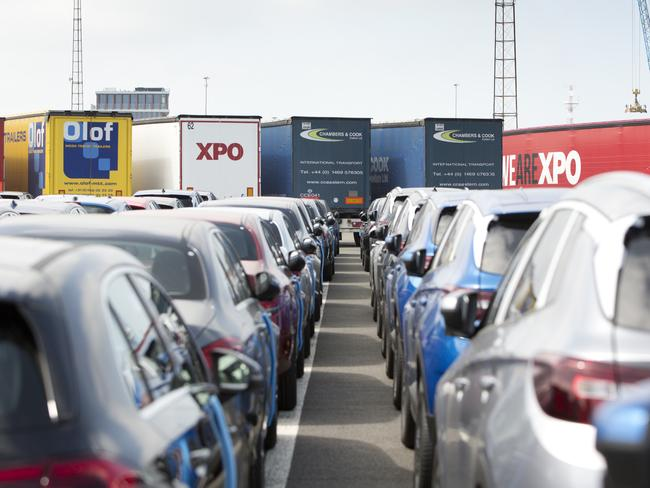 New cars and trucks with cargo wait to be loaded at the Port of Zeebrugge, Belgium. Companies and custom officials at the port are preparing in advance of the March 30, 2019 Brexit date. Picture: AP Photo/Virginia Mayo