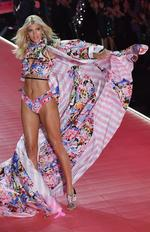 US model Devon Windsor walks the runway at the 2018 Victoria's Secret Fashion Show on November 8, 2018 at Pier 94 in New York City.
