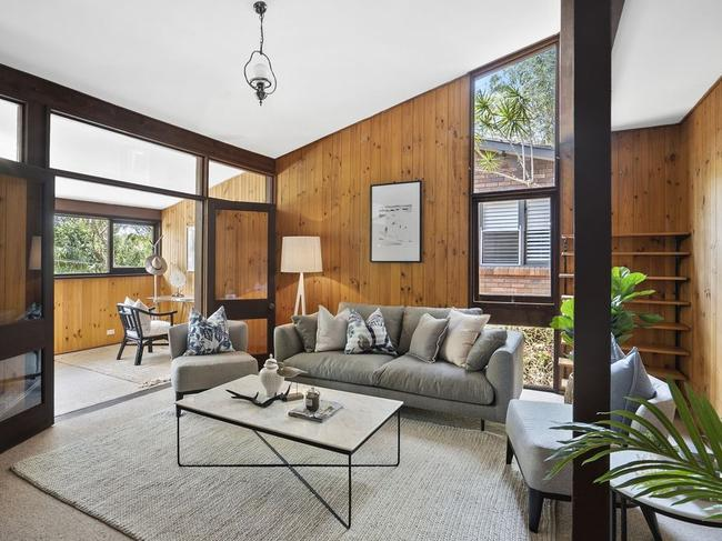 The three-bedroom house at Avalon Beach has a classic mid-century design.