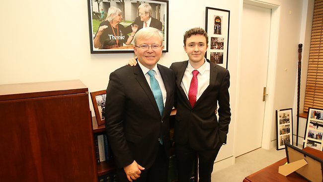 Kevin Rudd with his son Marcus following his resignation announcement. Picture: Gary Ramage
